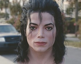 low-poly 3d model Michael Jackson head
