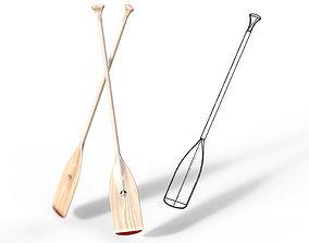 Wooden Paddle Oar for Rowing Boat 3D