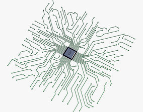 abstract Electronic circuit v 3 3D