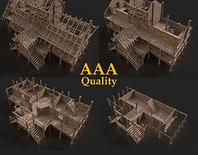 SIMPLE MEDIEVAL THATCHED VILLAGE WOODEN HOUSE 3D model 2