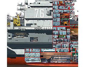 3D USS Ronald Reagan Aircraft Carrier Cutaway CVN76
