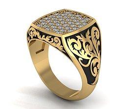 3D print model men floral ring