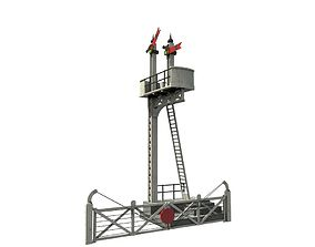 Train Signal Crossing 3D asset