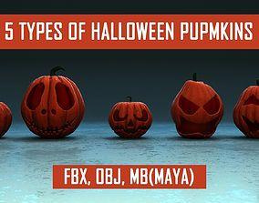 5 Types of Halloween Pumpkins 3D