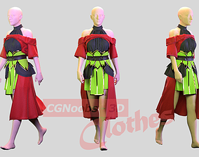 Female Red Cloak - 36 Marvelous Designer and