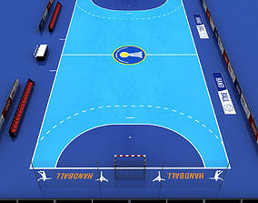 3D model realtime Handball court arena low poly