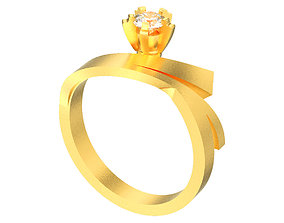 Solitaire diamond ring with accents 3D printable model 2