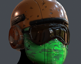 Gas mask helmet 3d model scifi Low-poly game-ready 3