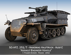 3D SD KFZ 251 7- Ausf C - Assault Engineer Vehicle - 7PD