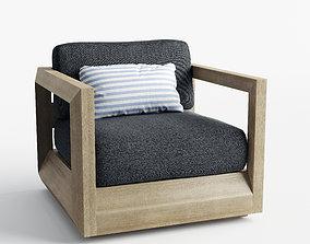 Paloma Teak Swivel Lounge Chair 3D