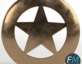 3D Sheriff round badge