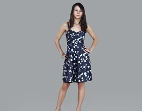 3D Standing Woman with Classy Summer Dress