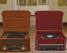 3D asset Vintage Record Player Radio