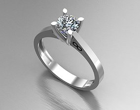 Diamond Engagement Gold Ring 3D model