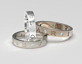 3D printable model Set of B-V-L-G-A-R-I wedding bands 4