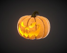 3D model game-ready Carved Halloween Pumpkin