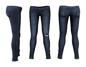 Ladies Skinny Low Rise Jeans 3D model