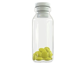 3D Medicine small glass bottle with pills
