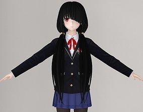 3D T pose nonrigged model of Kurumi Tokisaki anime