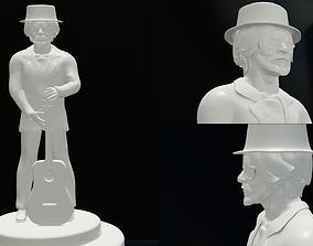 3D printable model singer with guitar