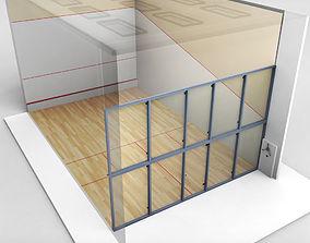 3D asset Squash Sport Tennis Court low poly