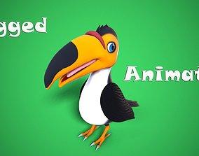 3D asset animated cartoon toucan