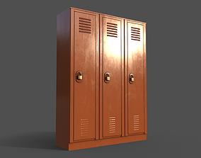 3D model PBR School Gym Locker 01 - Orange