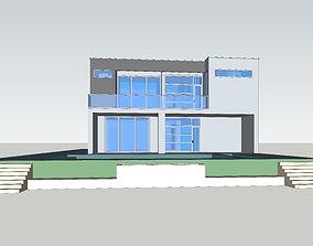 3D model Modern Villa Architecture Swimming Pool Courtyard