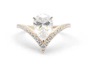 3DM Pear shaped engagement ring for her