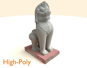 Scanned White Lion Statue 3D asset