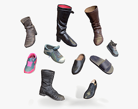 3D asset Lowpoly boots collection