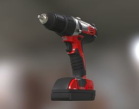 Low poly Electric Drill with battery 3D model