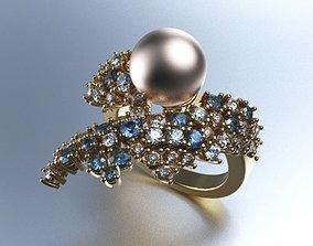 3D printable model pearl diamond ring 55