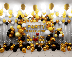Party Balloons 3D model realtime