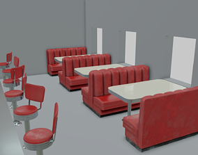 1950s Diner sitting set 3D
