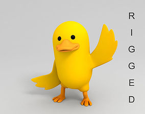 3D model Rigged Yellow Duck Character animal