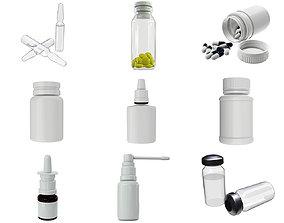 3D Medicine glass bottles for mock up p2