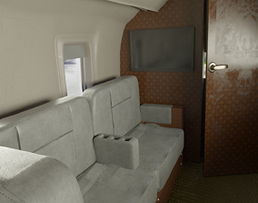 Private jet interior 3D model airplane