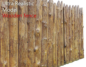 3D model low-poly Wooden Old Fence Scan