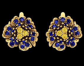 Nice flower earring with diamond or natural 3D print model