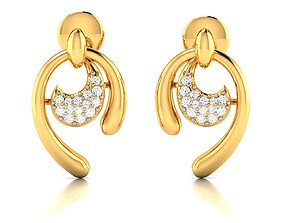gold luxury Women earrings 3dm render detail