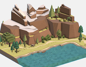 3D model Isometric style lake summer mountain landscape