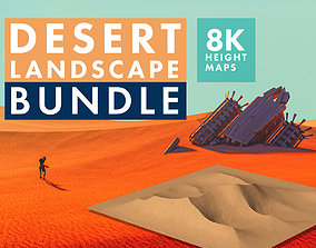 3D model 8K Desert Landscape Bundle - 6 Displacement - 2