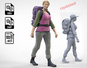 N3 walking Hiker Woman 1 64 Miniature 3D print model
