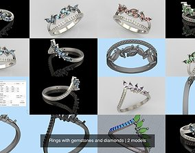 3D model Rings with gemstones and diamonds