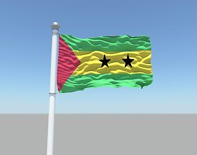 3D model Sao Tome and Principe flag