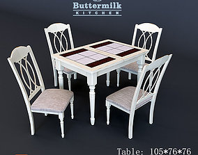 Table and chairs LT T 13302 BUTTERMILK 3D model
