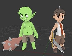 3D model chibi anime style swordsman character and
