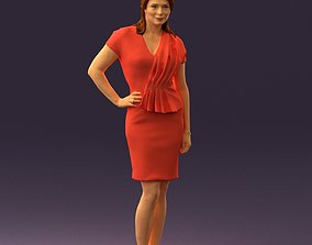 3D Woman in coral dress 0705