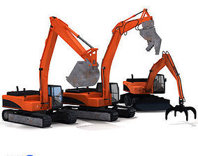 3D model Excavators collection with